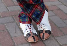 Funny shoes. Performer on the street with funny shoes Royalty Free Stock Photo