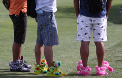 Funny shoes at the ANA inspiration golf tournament 2015. RANCHO MIRAGE, CALIFORNIA - APRIL 01, 2015 : funny shoes at the ANA inspiration golf tournament on LPGA royalty free stock images
