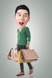 Funny shopping Asian guy. Full length portrait stock photos