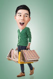 Funny shopping Asian guy Stock Photography