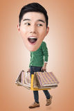 Funny shopping Asian guy Stock Photo