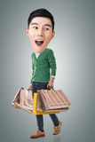 Funny shopping Asian guy Stock Images