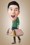 Funny shopping Asian guy Stock Image