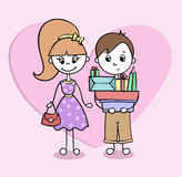 Funny shopping with a boyfriend - cartoon vector illustration Stock Photos