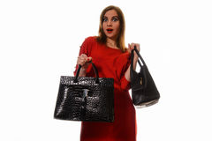 Funny shopping woman isolated Royalty Free Stock Photos