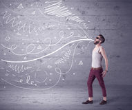 Funny shouting hipster with drawn lines Stock Images