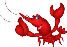 Funny shrimp cartoon character Royalty Free Stock Photos