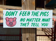 Funny Sign At A Petting Zoo Stock Photos