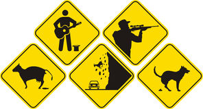 Funny sign - black & yellow Royalty Free Stock Photo