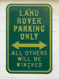 Funny sign: Land rover parking only Stock Photos