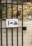 Funny sign warning of recording urination Stock Photos
