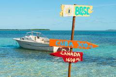 Funny signpost. Funny direction signpost with distances to Cuba and Canada at North Bimini Island stock image