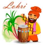 Funny Sikh man celebrating holiday. Popular winter Punjabi folk festival Lohri. Funny Sikh man celebrating holiday, cartoon character. Colorful vector Royalty Free Stock Photo