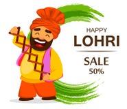 Funny Sikh man celebrating holiday. Popular winter Punjabi folk festival Lohri. Funny Sikh man celebrating holiday, cartoon character for sale, banner, poster Royalty Free Stock Photos