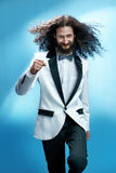 Funny and siknny guy wearing a tuxedo Royalty Free Stock Images