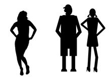 Funny silhouette. Icon dolls and sexy woman Royalty Free Stock Images