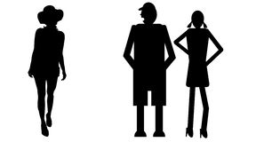 Funny silhouette. Icon dolls and sexy woman Stock Photography