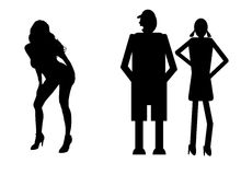 Funny silhouette. Icon dolls and sexy woman Stock Images