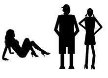 Funny silhouette. Icon dolls and sexy woman Royalty Free Stock Photography