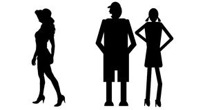 Funny silhouette. Icon dolls and sexy woman Royalty Free Stock Photos