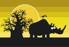 Funny silhouettes of african rhinoceros and bird Royalty Free Stock Images