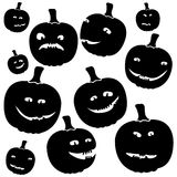 Funny silhouettes of halloween pumpkins Stock Photo