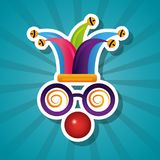 Funny silly glasses red nose and hat jester. Vector illustration stock illustration