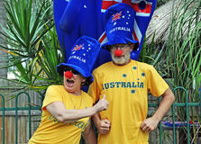 Funny silly patriotic Australian senior couple celebrating Australia Day. A funny candid portrait of a patriotic Australian couple acting silly and celebrating Stock Photo