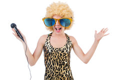 Funny singer   woman Royalty Free Stock Images