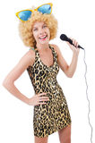 Funny singer   woman Royalty Free Stock Photos