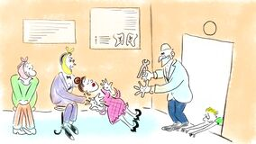 Funny situation at the entrance to the dentist`s office