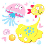 Funny skate fish and jellyfish. Different funny inhabitants of the sea skate, fish, and jellyfish with hearts Stock Photo