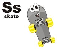 Funny skateboard and abc. Smiling stylish skateboard and black abc Vector Illustration