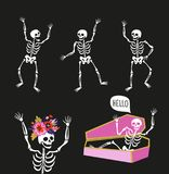 Funny skeletons in different poses with speech bubbles. Vector illustrations for halloween design. royalty free illustration