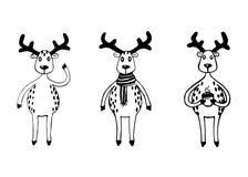 Funny sketch deers set. Stock Image