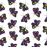 Funny sketch seamless pattern with color butterflies. vector illustration