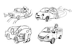 Funny sketches of people and cars vector illustration