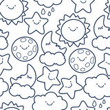 Funny sketching line style illustration of star, sun, cloud, moon Royalty Free Stock Images