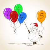 Funny sketching sheep - symbol of the New Year 2015. Hand drawn funny sheep with balloons - symbol of the New Year 2015 Stock Illustration
