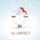 Funny sketching sheep - symbol of the New Year 2015. Hand drawn funny sheep enjoy the first snow - symbol of the New Year 2015 Royalty Free Stock Images