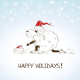 Funny sketching sheep - symbol of the New Year 2015. Hand drawn funny sheep playing curling - symbol of the New Year 2015 royalty free illustration
