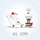 Funny sketching sheep - symbol of the New Year 2015. Hand drawn funny sheep with sledge full of presents - symbol of the New Year 2015 Royalty Free Stock Images