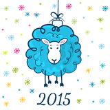 Funny sketching sheep - symbol of the New Year 2015. Holiday gre Royalty Free Stock Image