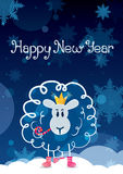 Funny sketching sheep - symbol of the New Year 2015. Vector post. Funny sketching sheep in crown - symbol of the New Year 2015. Vector postcard Royalty Free Stock Photo