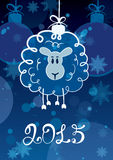 Funny sketching sheep - symbol of the New Year 2015. Vector post. Card Stock Photography