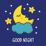 Funny sketching sleeping moon and smiling stars. Vector cartoon Royalty Free Stock Photography