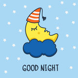 Funny sketching sleeping moon and stars. Vector cartoon illustra Royalty Free Stock Photo
