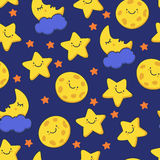 Funny sketching smiling star and sleeping moon. Vector seamless stock illustration