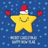 Funny sketching star in hat and mittens. New Year and Christmas Royalty Free Stock Photo