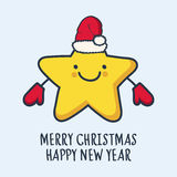 Funny sketching star in hat and mittens. New Year and Christmas Royalty Free Stock Photography